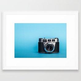 Vintage Camera On Blue Framed Art Print