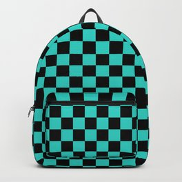 Black and Turquoise Checkerboard Backpack