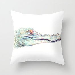 Albino Alligator Throw Pillow
