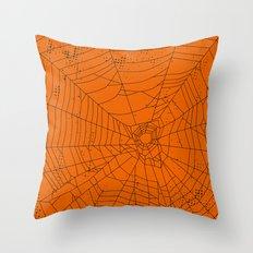 Spider Web – orange & black Throw Pillow