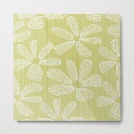 Katalin, lacy daisy in light kaki Metal Print
