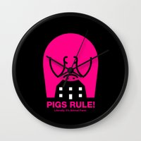 pigs Wall Clocks featuring Pigs Rule! by Paul Breen