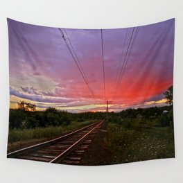 Northern sunset at white night Wall Tapestry