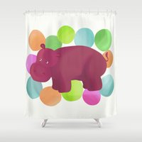 hippo Shower Curtains featuring Hippo by Katy Welte