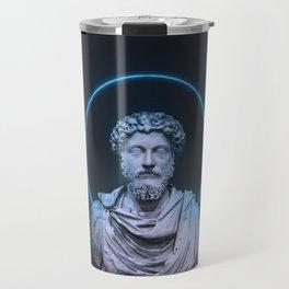 Marcus Aurelius Minimalist Neon Travel Mug