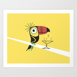 Swank Mid Century Modern Toucan Tiki Bird With Martini Art Print