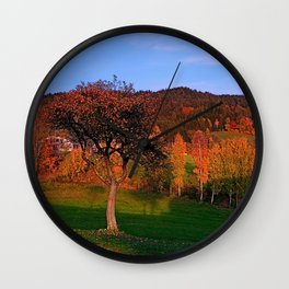 Old tree in indian summer evening | landscape photography Wall Clock
