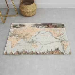 Vintage Volcano and Earthquake World Map (1852) Rug