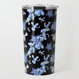 Orchid chic decor (blue & black palette) Travel Mug