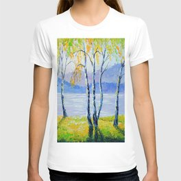 Birch trees by the river  T-shirt