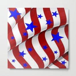 PATRIOTIC AMERICANA JULY 4TH BLUE STARS DECORATIVE ART Metal Print