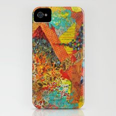 Pieces of Me - Gorgeous Bold Fabric Painting Collage Love Colorful Rainbow Yellow Red Stripes Floral Slim Case iPhone (4, 4s)