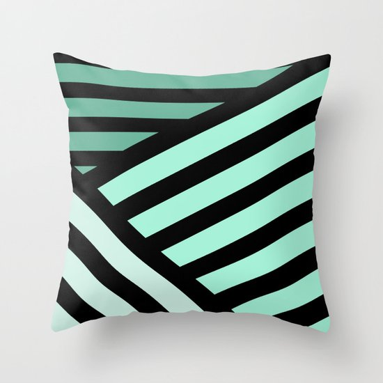 STRIPED {MINT} Throw Pillow