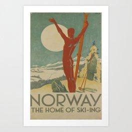 vintage placard Norway the home of skiing Art Print