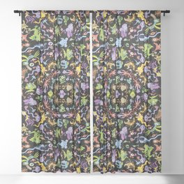 Terrific monsters posing for a colorful pattern design Sheer Curtain