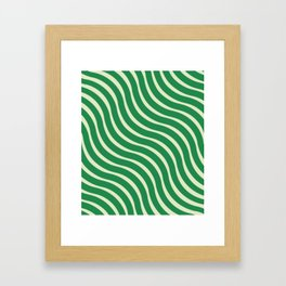 Abstract Waves illusion Pattern - Jungle Green Framed Art Print