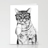 glasses Stationery Cards featuring Mac Cat by florever