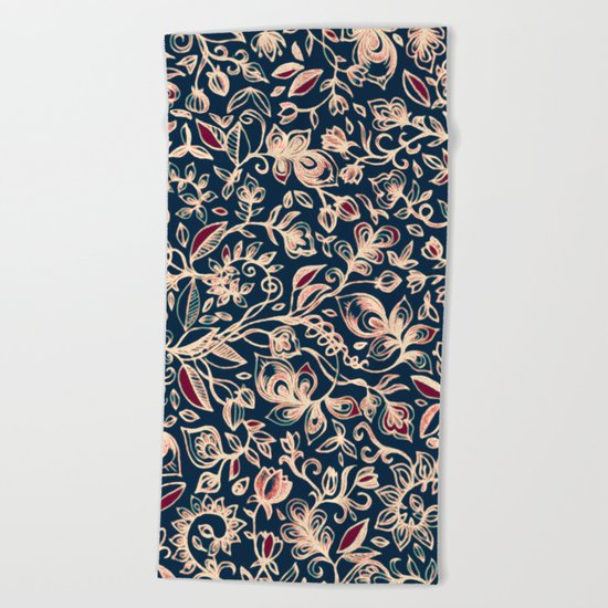 Navy Garden - floral doodle pattern in cream, dark red & blue Beach Towel