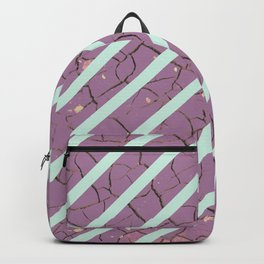Striped Mint and Purple Cracked Pattern Backpack