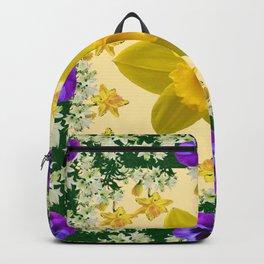GREEN SPRING PANSIES DAFFODILS FLOWERS GARDEN MODERN ART Backpack
