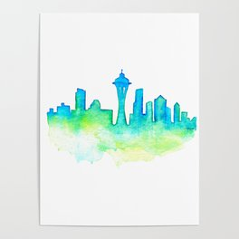 Seattle Skyline Watercolor in Blue and Green Poster