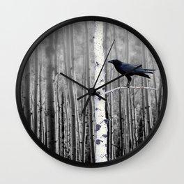 Black Bird Crow Tree Birch Forrest Black White Country Art A135 Wall Clock