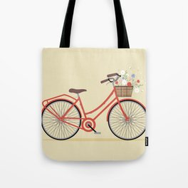 Flower Basket Bicycle Illustration Tote Bag