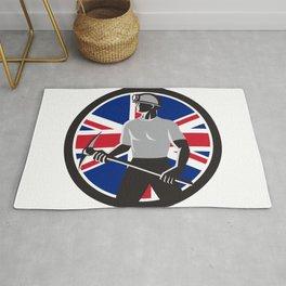 British Coal Miner Union Jack Flag Icon Rug