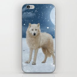Awesome arctic wolf in the night iPhone Skin