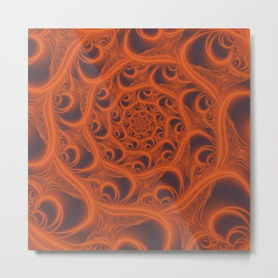 Fractal Web in Halloween Orange Metal Print