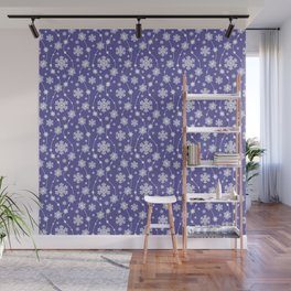 Purple Holiday Snowflake Pattern Wall Mural