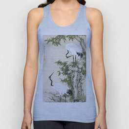 Cranes, Peach Tree, and Chinese Roses Unisex Tank Top
