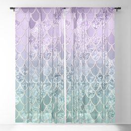 Mermaid Glitter Scales #1 #shiny #decor #art #society6 Sheer Curtain