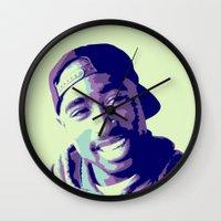 tupac Wall Clocks featuring Tupac by victorygarlic - Niki