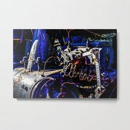 Grunge Heavy-Duty Metal Of A Vintage Steam Locomotive Metal Print