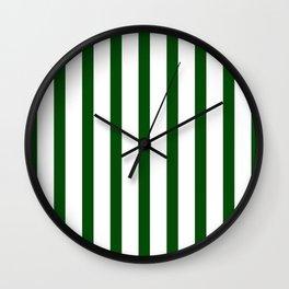 Dark Green Vertical Stripes Design Wall Clock