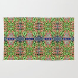Red Lilly Flower Photo Multi Fractal Frieze Rug