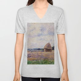 Haystack Eragny 1885 By Camille Pissarro | Reproduction | Impressionism Painter Unisex V-Neck
