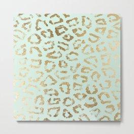 Elegant trendy neo mint gold cheetah animal print Metal Print