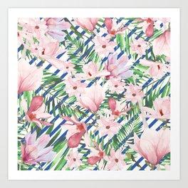 Modern blue white stripes blush pink green watercolor floral Art Print