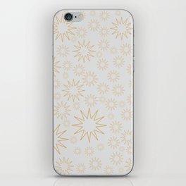 Golden stars on white grey iPhone Skin