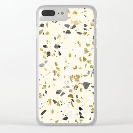 Glitter and Grit Yellow Gold Marble Clear iPhone Case