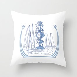 Yacht Club Racing Trophy Cup Drawing Throw Pillow