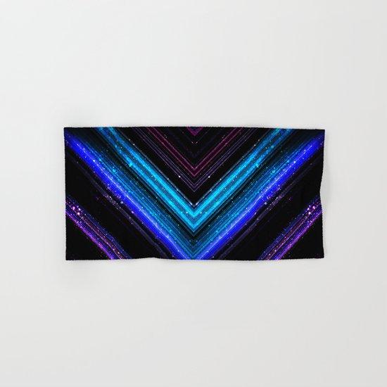 Sparkly metallic blue and purple galaxy lines Hand & Bath Towel