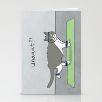caleb troy Stationery Cards featuring Yoga Cat by Caleb Croy by UCO Design