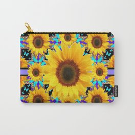 Lilac Purple Yellow Sunflowers &  Aqua Butterflies Quatre  Patterns Carry-All Pouch