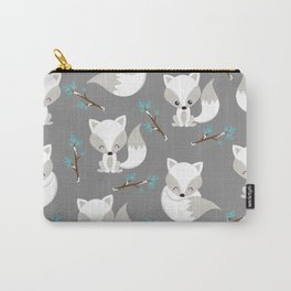 ARCTIC FOXES ON GREY Carry-All Pouch