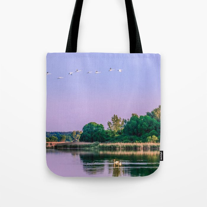 Swans are flying Tote Bag