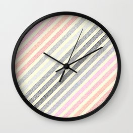 Peach Pink Gray Stripes Wall Clock