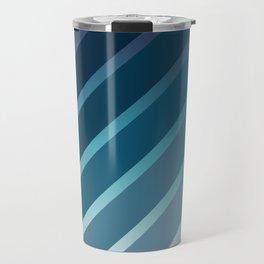 Classic Stripes on Blue Colored Gradient Travel Mug